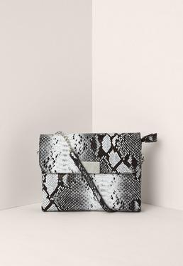 Black and White Faux Leather Snake Cross Body Bag