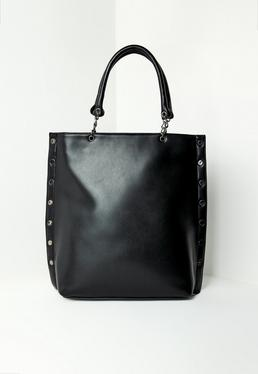 Black Studded Edge Tote Bag
