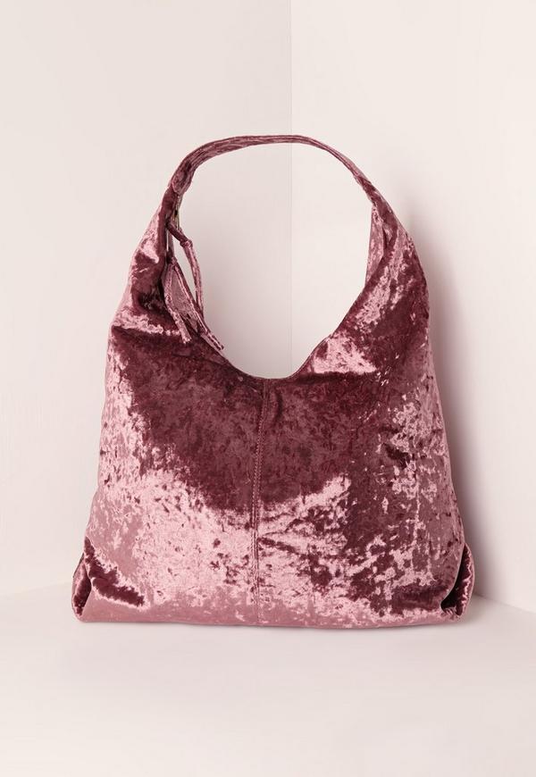 Velvet Slouch Tote Bag Pink