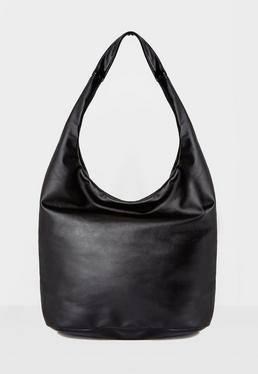Faux Leather Slouch Tote Bag Black