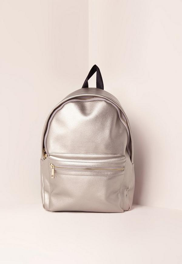 Silver Faux Leather Backpack
