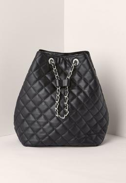 Quilted Chain Handle Backpack Black