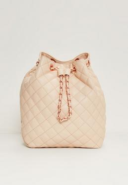 Quilted Chain Handle Backpack Nude