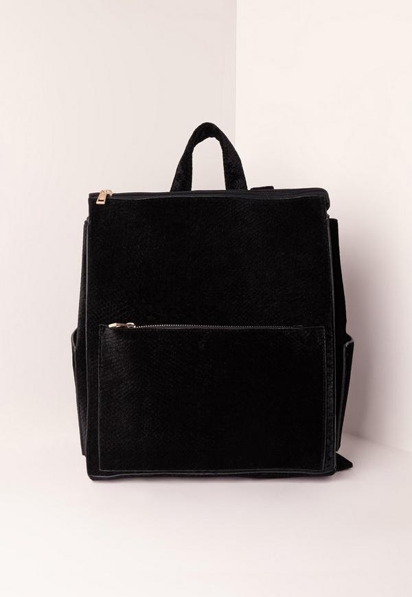 Black Velvet Croc Clean Line Backpack