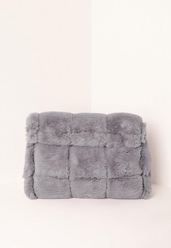 Grey Faux Fur Roll Top Clutch Bag