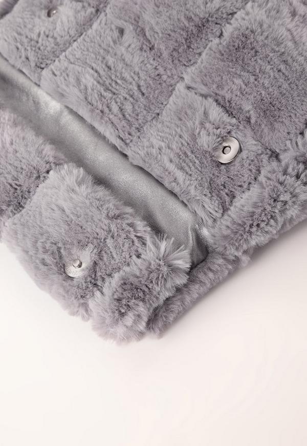 5b648cfc87 Faux Fur Roll Top Cuddle Clutch Grey