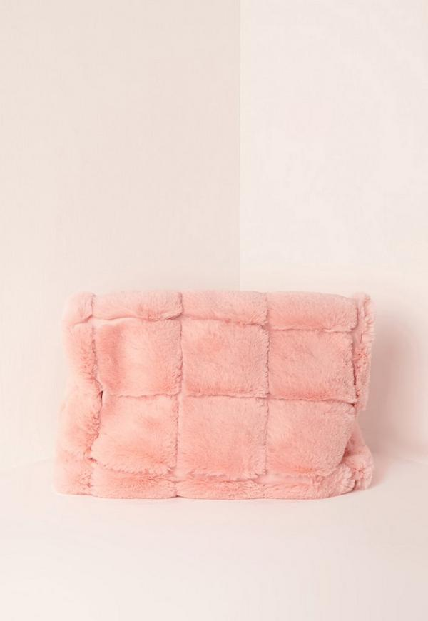 Pink Faux Fur Roll Top Clutch Bag