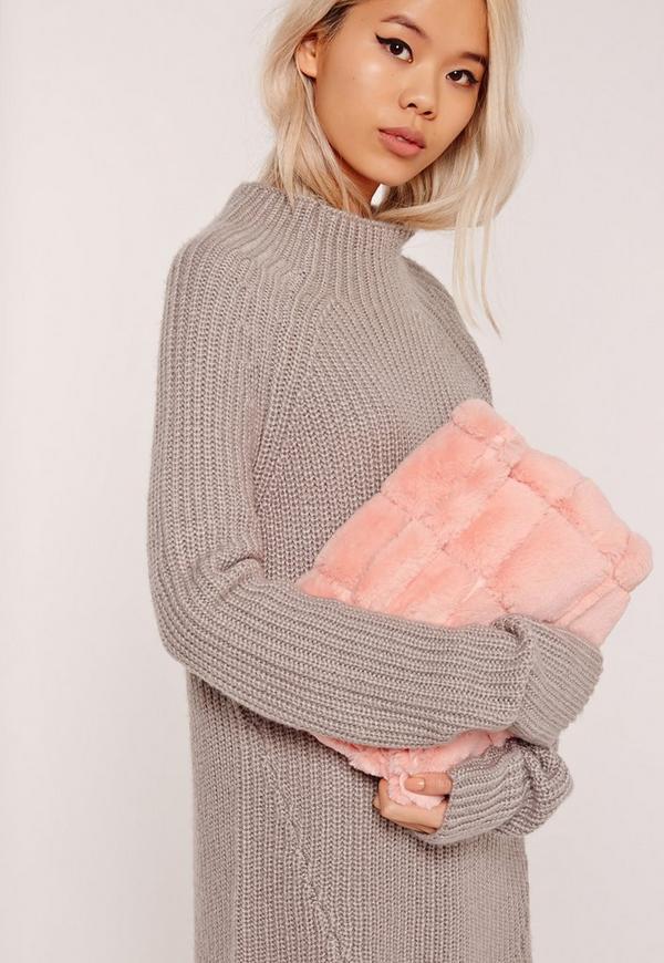 b8fdc038c5 Pink Faux Fur Roll Top Clutch Bag