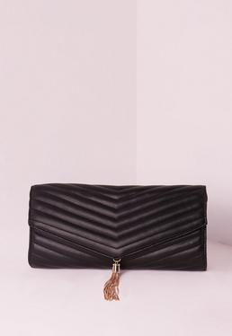 Chevron Quilted Tassel Clutch Bag Black