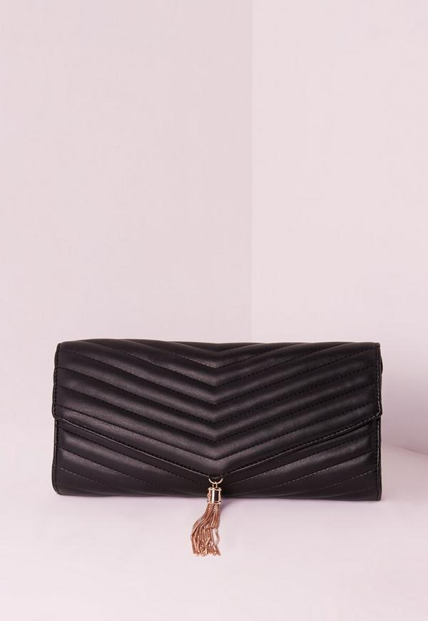 Chevron Quilted Tassel Clutch Bag Black