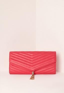 Pink Chevron Quilted Tassel Clutch Bag