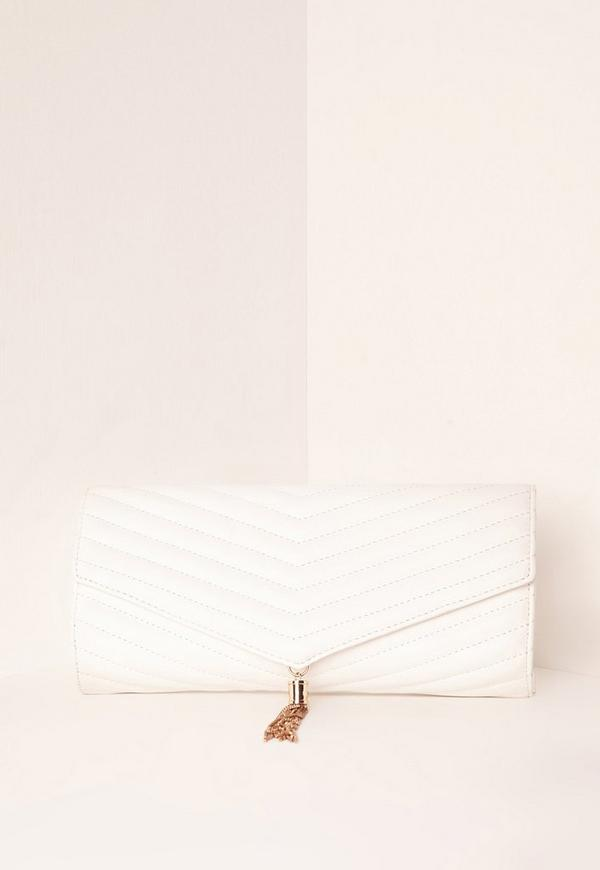White Chevron Quilted Tassel Clutch Bag