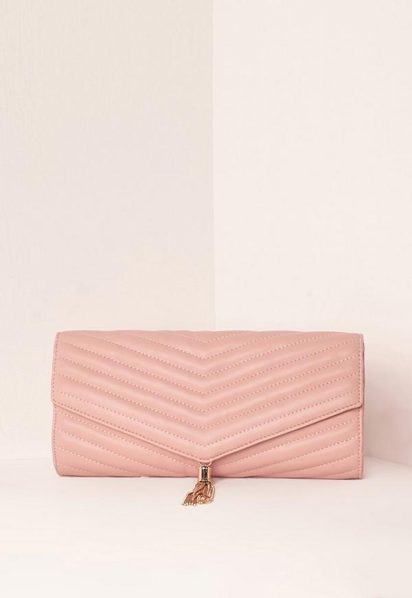 Nude Chevron Quilted Tassel Clutch Bag
