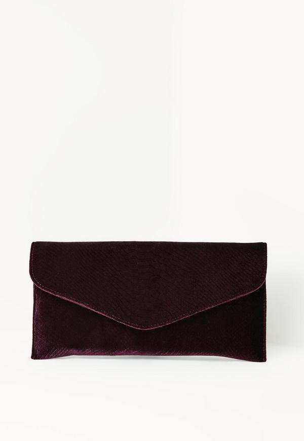 Purple Velvet Croc Effect Clutch Bag