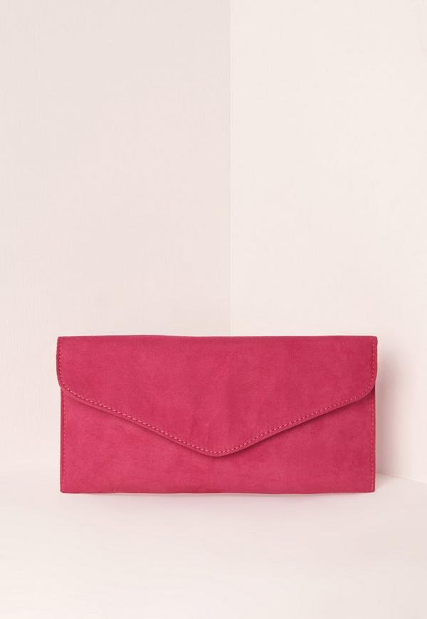 Faux Suede Clutch Bag Pink