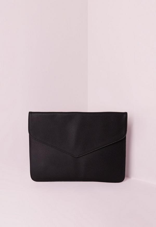 Black Textured Envelope Clutch Bag