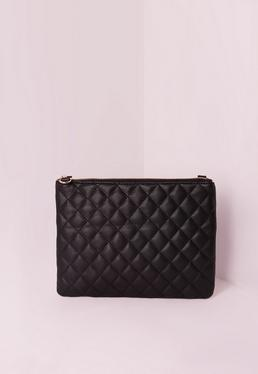 Black Zipped Quilted Clutch Bag