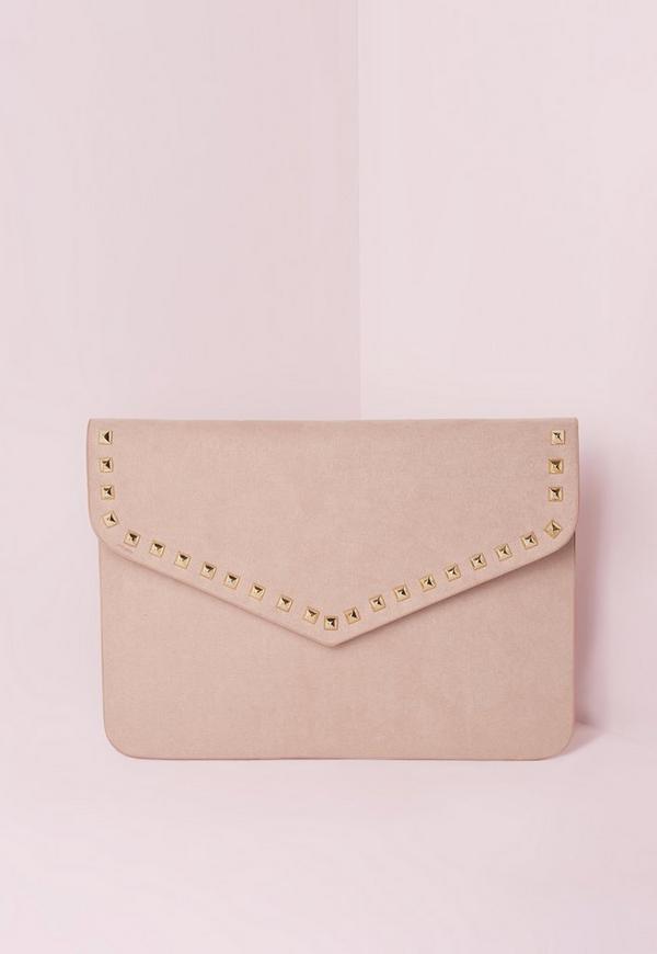 Stud Trim Envelope Clutch Bag Nude