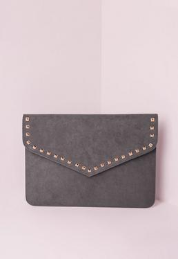 Stud Trim Envelope Clutch Bag Grey