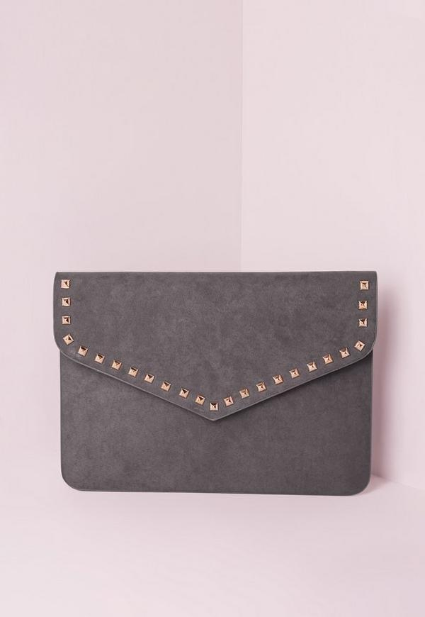 Stud Trim Envelope Clutch Bag Grey