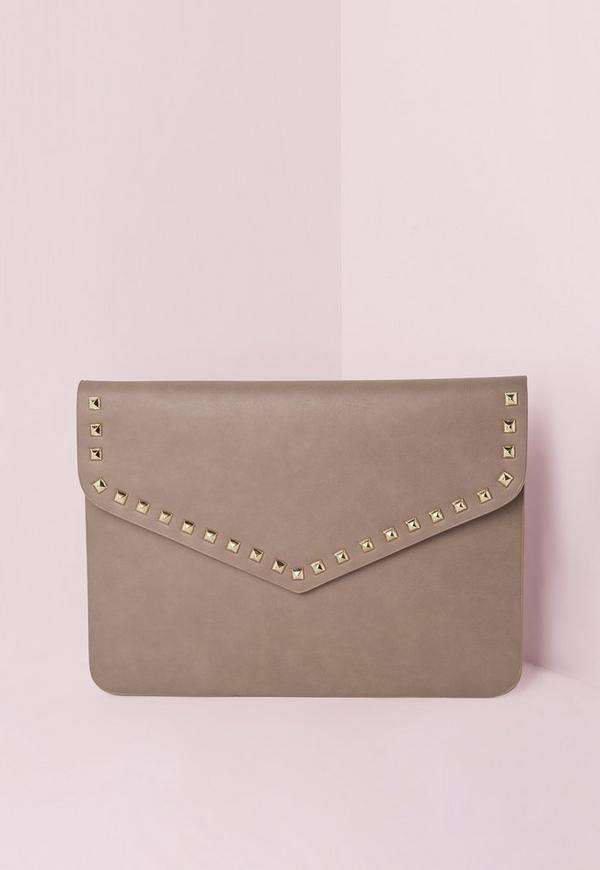 Stud Trim Envelope Clutch Bag Taupe