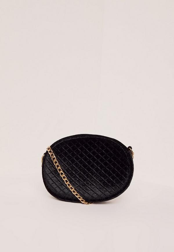 Black Quilted Velvet Cross Body Bag