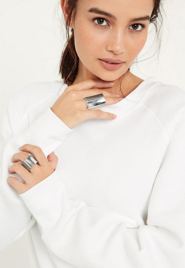 Silver Chunky Statement Two Pack Rings