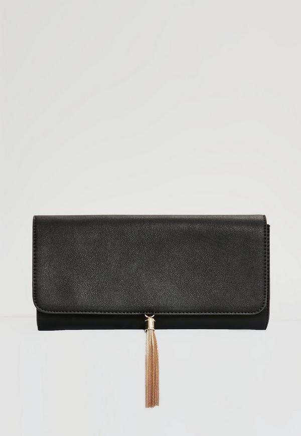 Sleek Tassel Clutch Bag Black