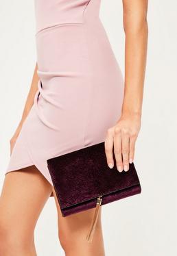 Purple Velvet Croc Effect Tassel Trim Clutch Bag