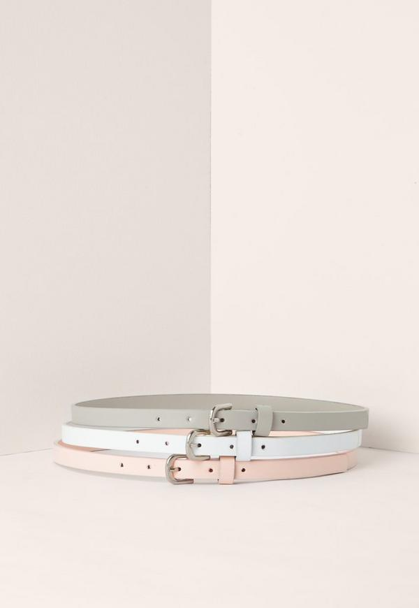 Grey White & Pink Three Pack Belts