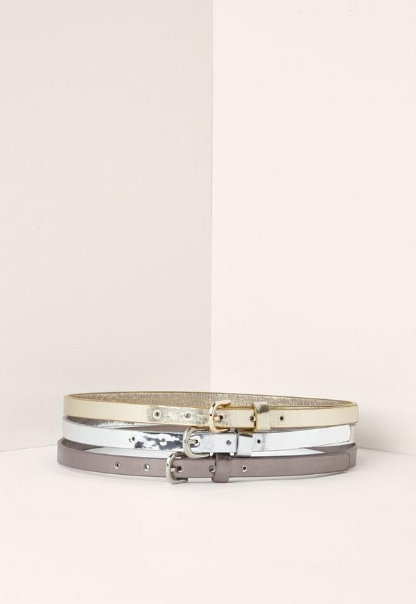 Rose Gold Silver & Grey Three Pack Belts