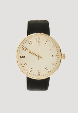 Gold Large Face Contrast Strap Watch