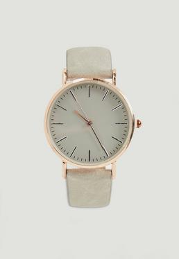 Rose Gold Large Face Contrast Strap Watch