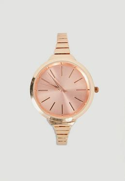Rose Gold Skinny Bracelet Watch