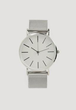 Uhr aus Stahl mit Mesh-Band in Silber