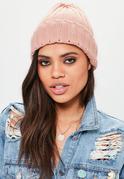 Bonnet rose simple côtelé