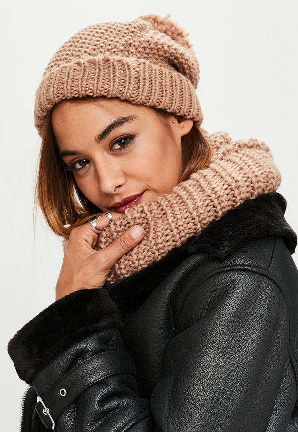 Camel Knitted Snood & Hat Set