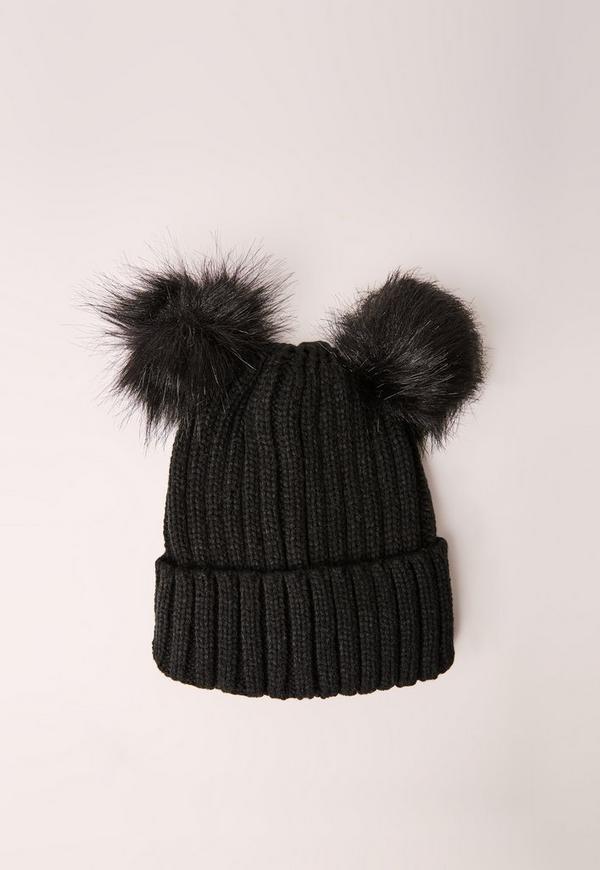 Double Pom Beanie Hat Black