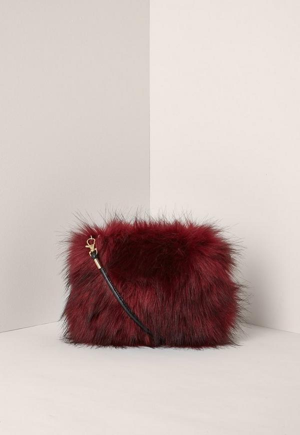 Red Mini Faux Fur Clutch Bag
