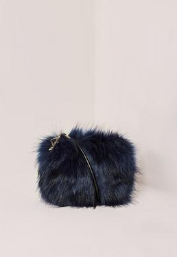 Navy Mini Faux Fur Clutch Bag