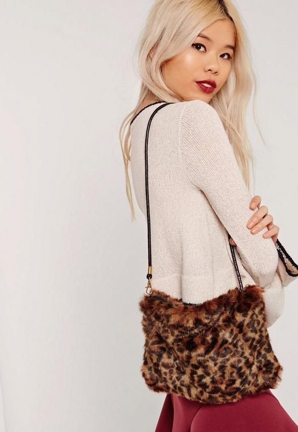 Leopard Print Mini Faux Fur Clutch Bag Multi