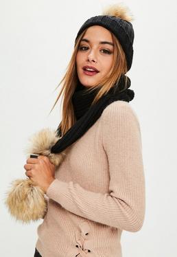 Faux Fur Pom Pom Hat and Scarf Set Black