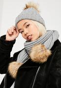 Grey Faux Fur Pom Pom Hat & Scarf Set