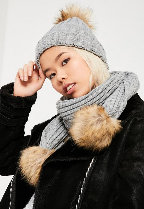 Grey Faux Fur Pom Pom Hat & Scarf Set