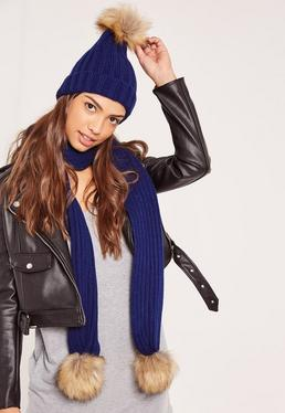 Faux Fur Pom Pom Hat and Scarf Set Navy