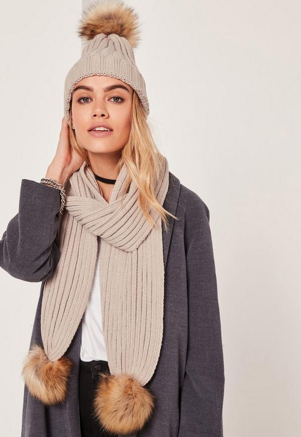 Faux Fur Pom Pom Hat and Scarf Set Nude
