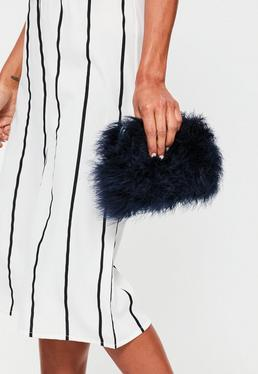 Navy Feather Clutch Bag