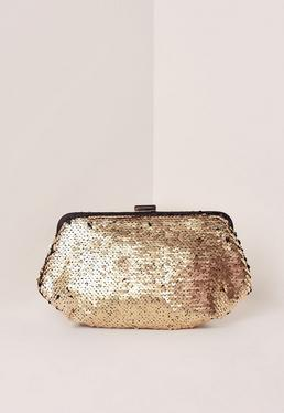 Gold Sequin Clutch Bag
