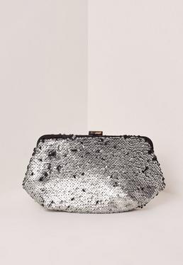 Silver Sequin Clutch Bag