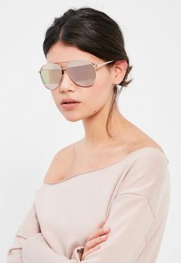 Złoto różowe okulary przeciwsłoneczne aviatorki